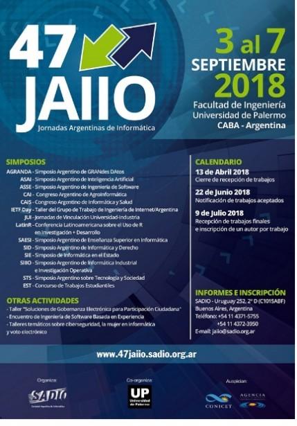 Jornadas Argentinas de Informática: Del 3 al 7 de septiembre