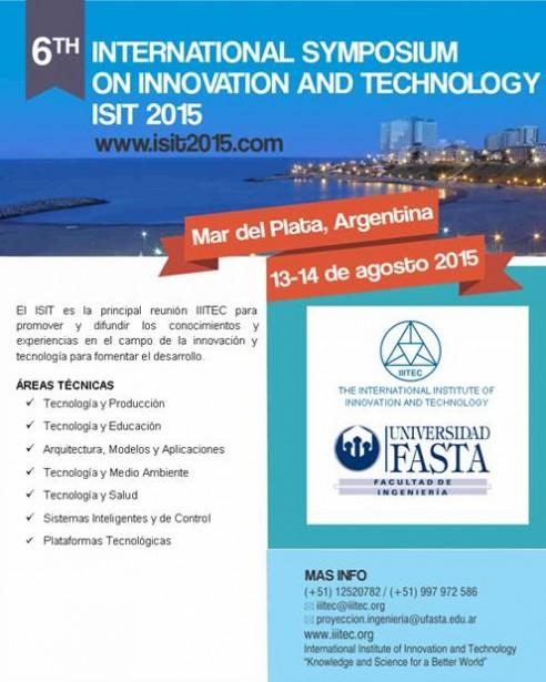 6to Simposio Internacional de Innovación y Tecnología - Mar del Plata / ISIT 2015 / 13 y 14 de agosto