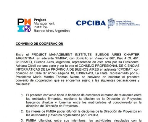 Dirección de Proyectos: Importante convenio entre CPCIBA y Project Management Institute, Buenos Aires Chapter