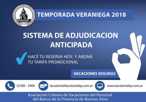 VACACIONES 2018: Acceda  al Sistema de Adjudicación Anticipada con tarifas promocionales
