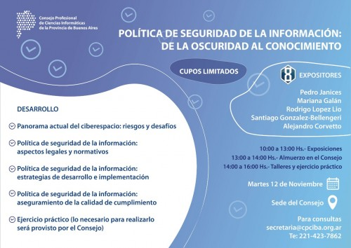 12 de noviembre en CPCIBA: Política de seguridad de la información